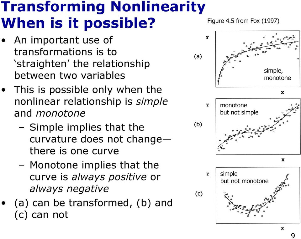 possible only when the nonlinear relationship is simple and monotone Simple implies that the