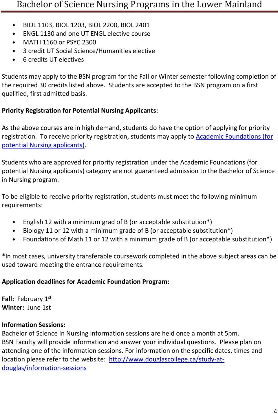 Priority Registration for Potential Nursing Applicants: As the above courses are in high demand, students do have the option of applying for priority registration.