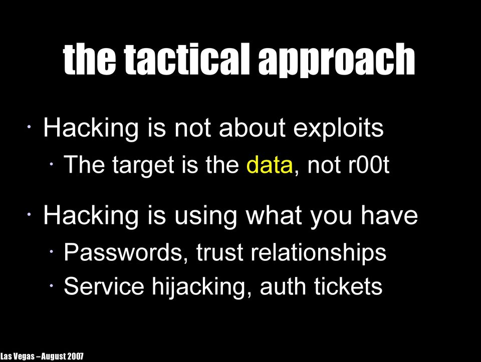 Hacking is using what you have Passwords,