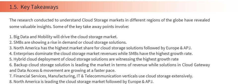North America has the highest market share for cloud storage solutions followed by Europe & APJ. 4. Enterprises dominate the cloud storage market revenues while SMBs have the highest growth rate. 5.