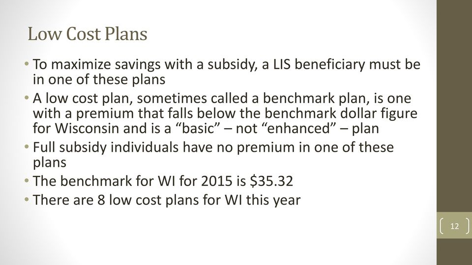 dollar figure for Wisconsin and is a basic not enhanced plan Full subsidy individuals have no premium