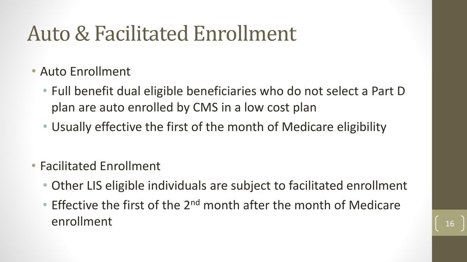 month of Medicare eligibility Facilitated Enrollment Other LIS eligible individuals are subject to