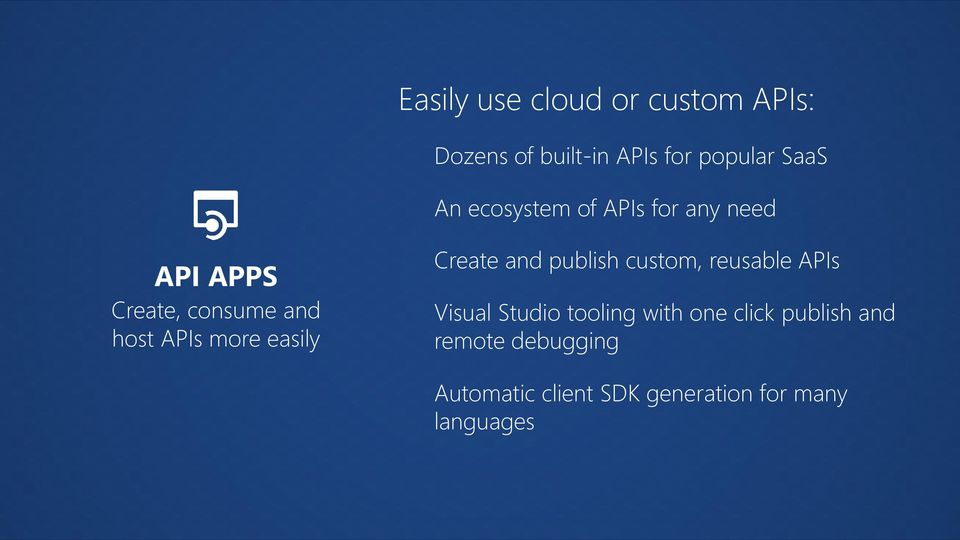 easily Create and publish custom, reusable APIs Visual Studio tooling with one