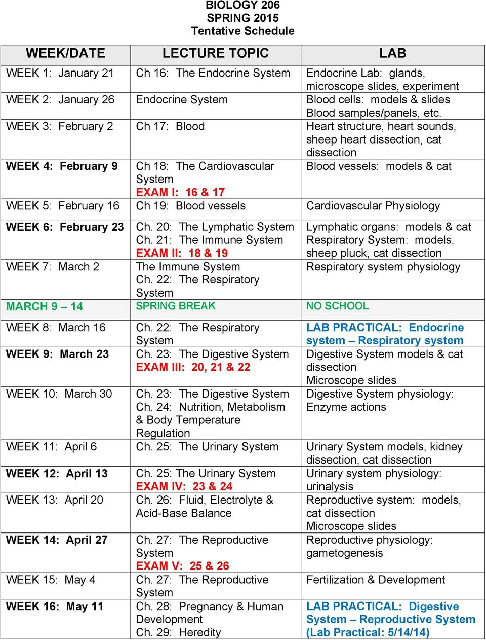 WEEK 3: February 2 Ch 17: Blood Heart structure, heart sounds, sheep heart dissection, cat dissection WEEK 4: February 9 Ch 18: The Cardiovascular Blood vessels: models & cat EXAM I: 16 & 17 WEEK 5: