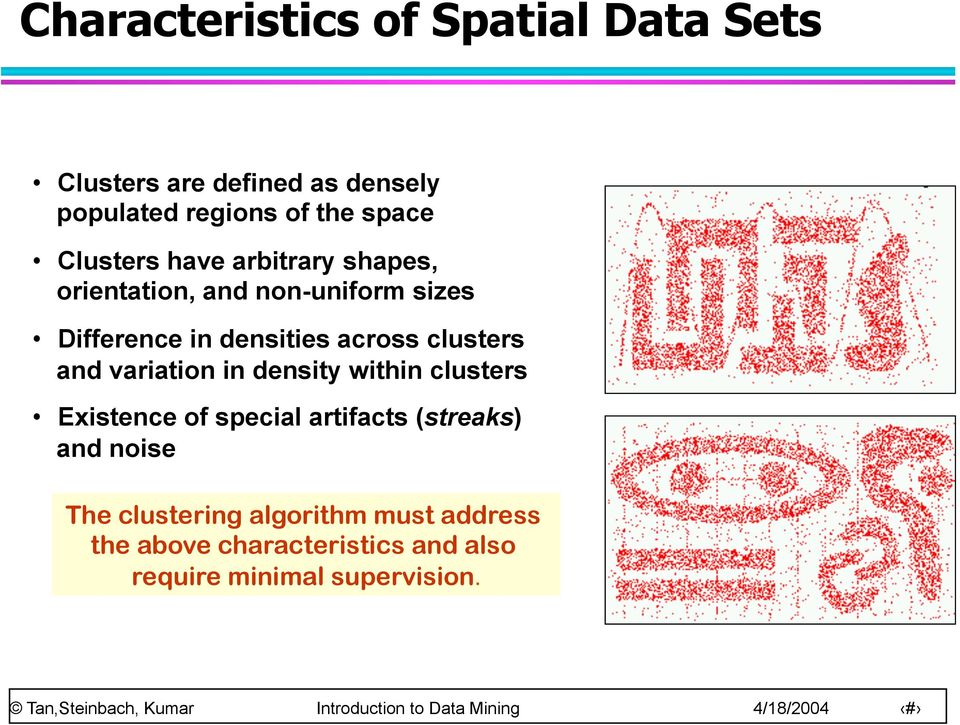 clusters and variation in density within clusters Existence of special artifacts (streaks) and
