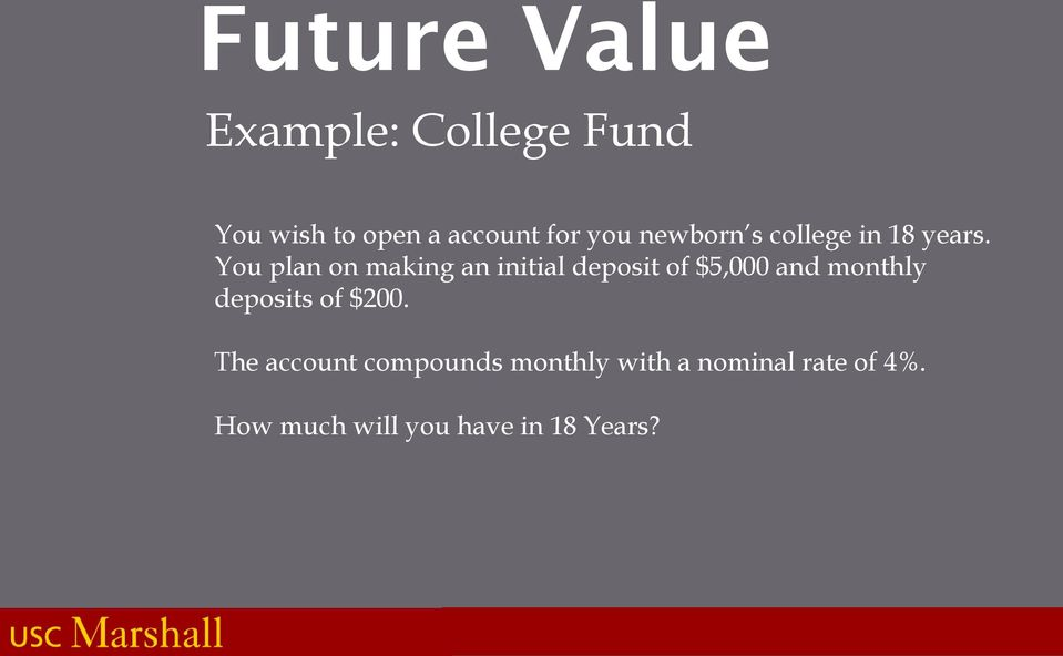 You plan on making an initial deposit of $5,000 and monthly