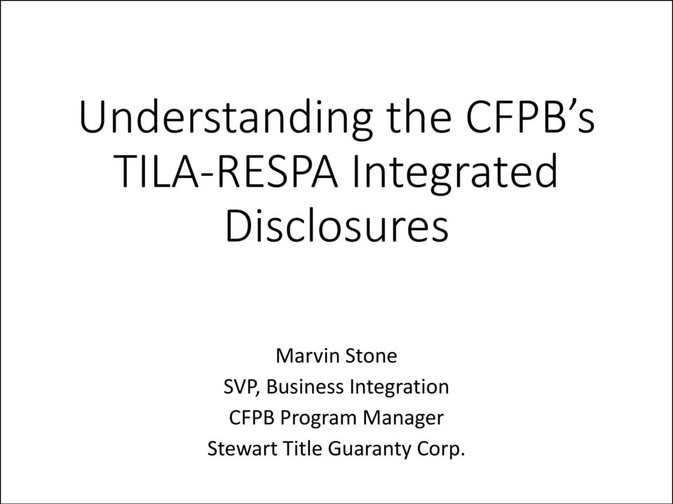 SVP, Business Integration CFPB