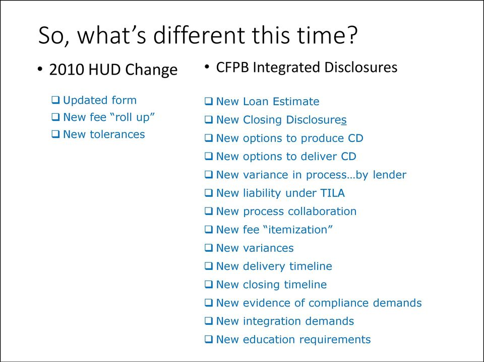 Closing Disclosures New options to produce CD New options to deliver CD New variance in process by lender New