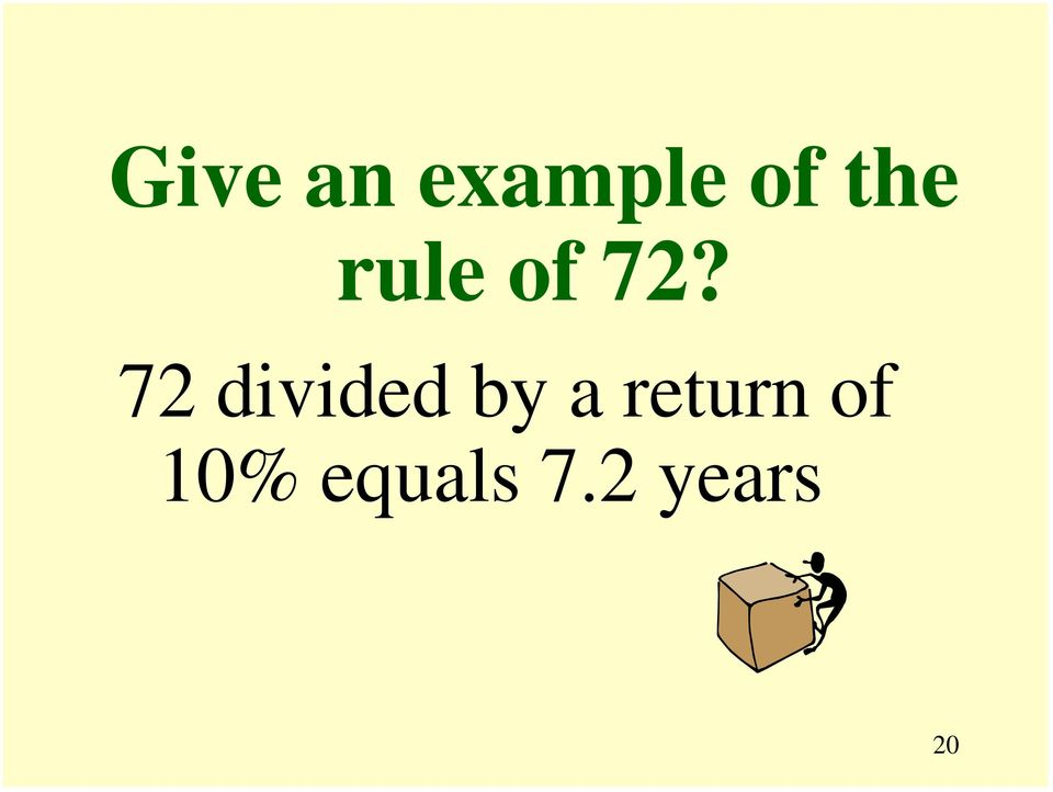 72 divided by a