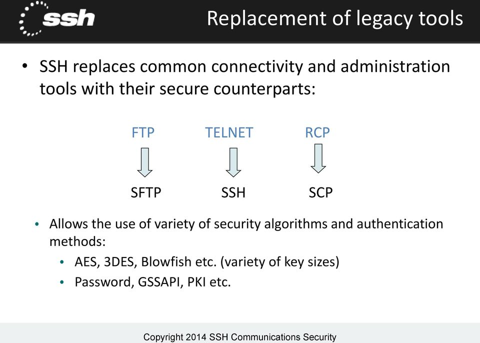 SSH SCP Allows the use of variety of security algorithms and