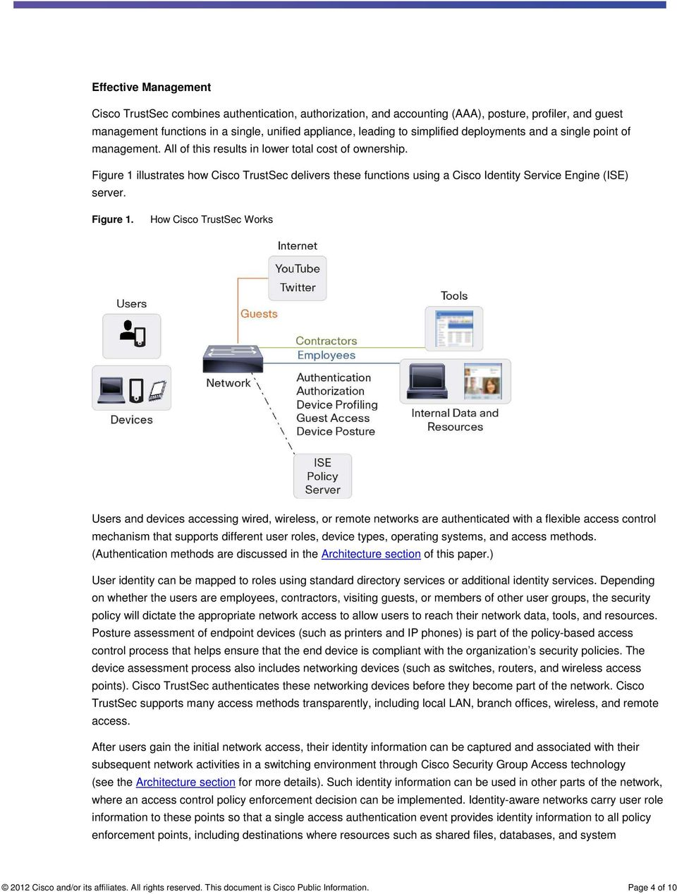 Figure 1 illustrates how Cisco TrustSec delivers these functions using a Cisco Identity Service Engine (ISE) server. Figure 1.