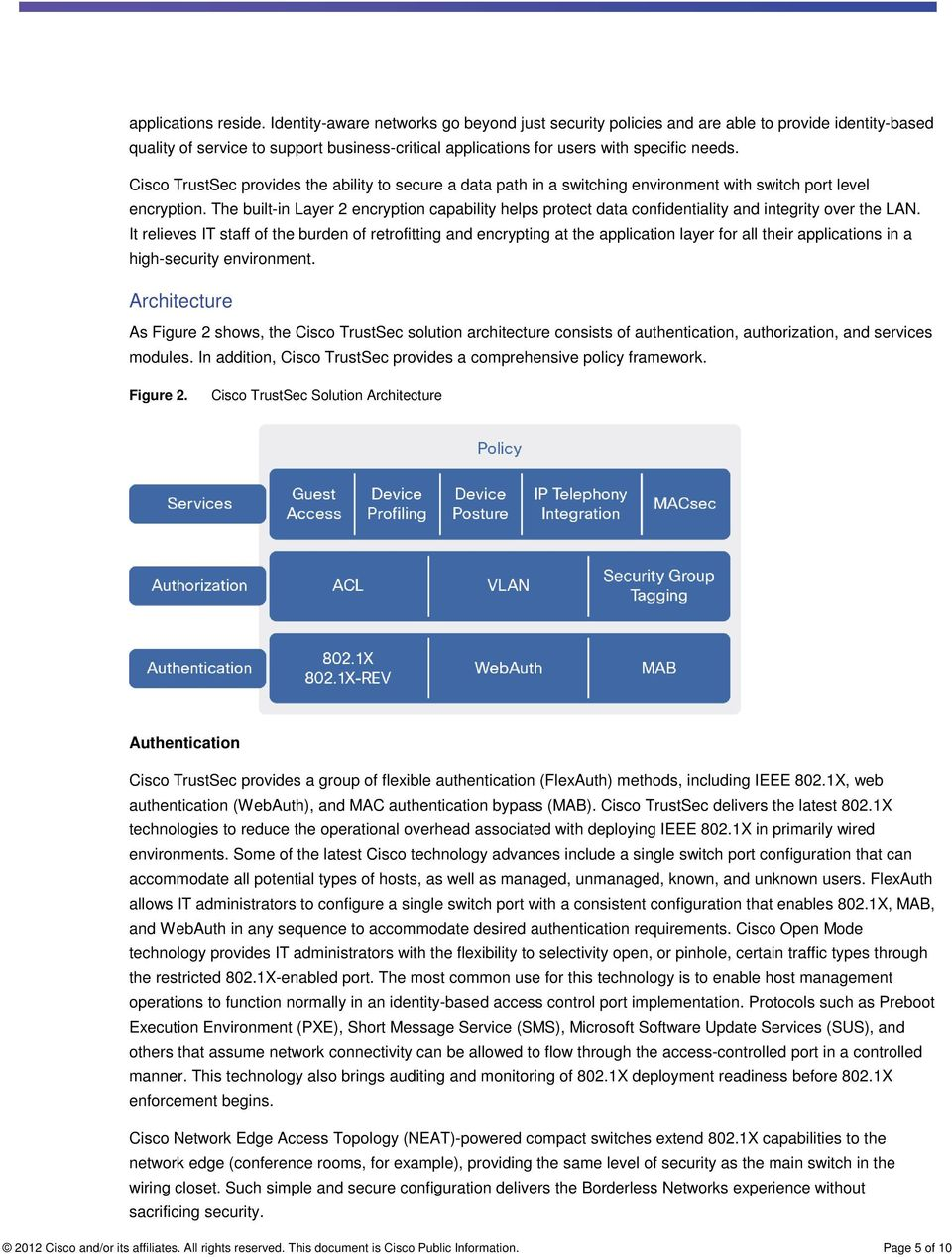 Cisco TrustSec provides the ability to secure a data path in a switching environment with switch port level encryption.