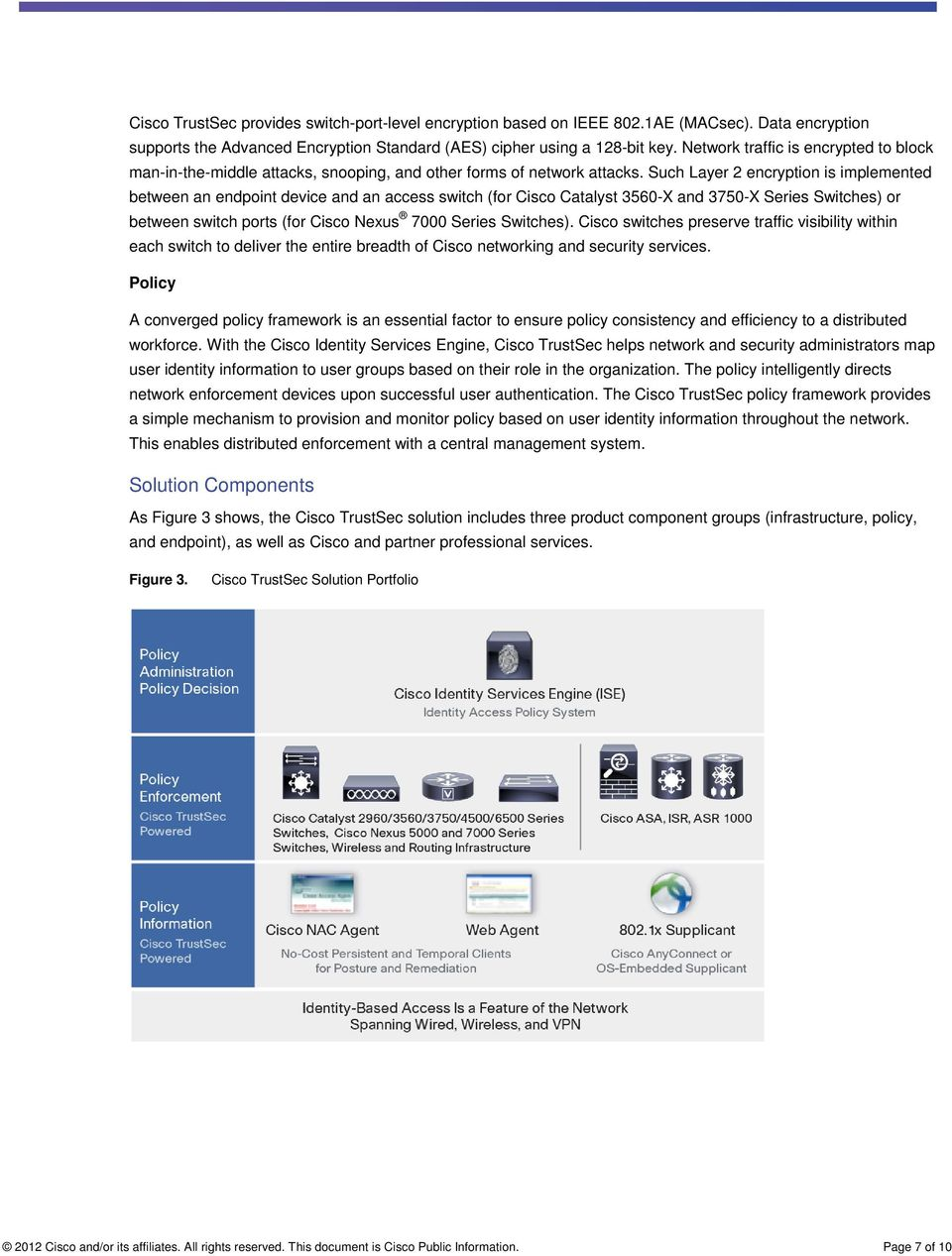 Such Layer 2 encryption is implemented between an endpoint device and an access switch (for Cisco Catalyst 3560-X and 3750-X Series Switches) or between switch ports (for Cisco Nexus 7000 Series