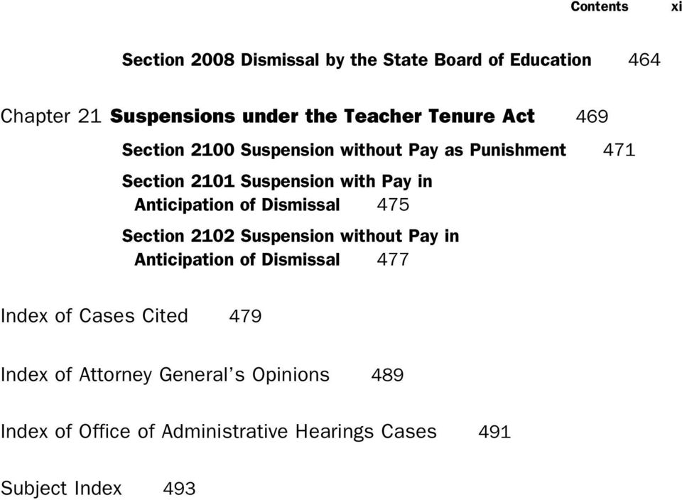 Anticipation of Dismissal 475 Section 2102 Suspension without Pay in Anticipation of Dismissal 477 Index of