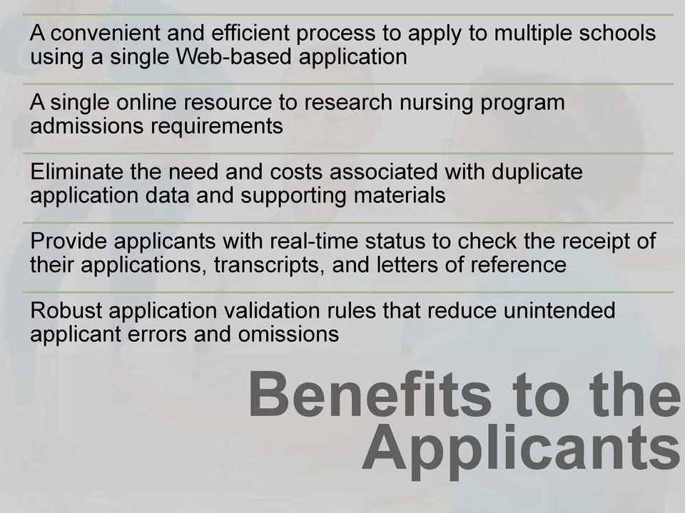 supporting materials Provide applicants with real-time status to check the receipt of their applications, transcripts, and