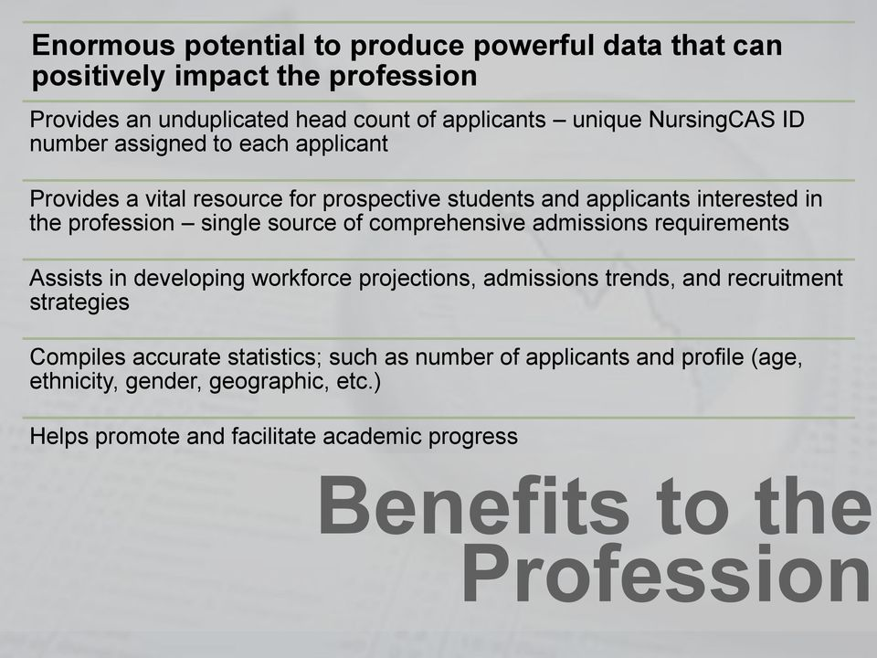 comprehensive admissions requirements Assists in developing workforce projections, admissions trends, and recruitment strategies Compiles accurate