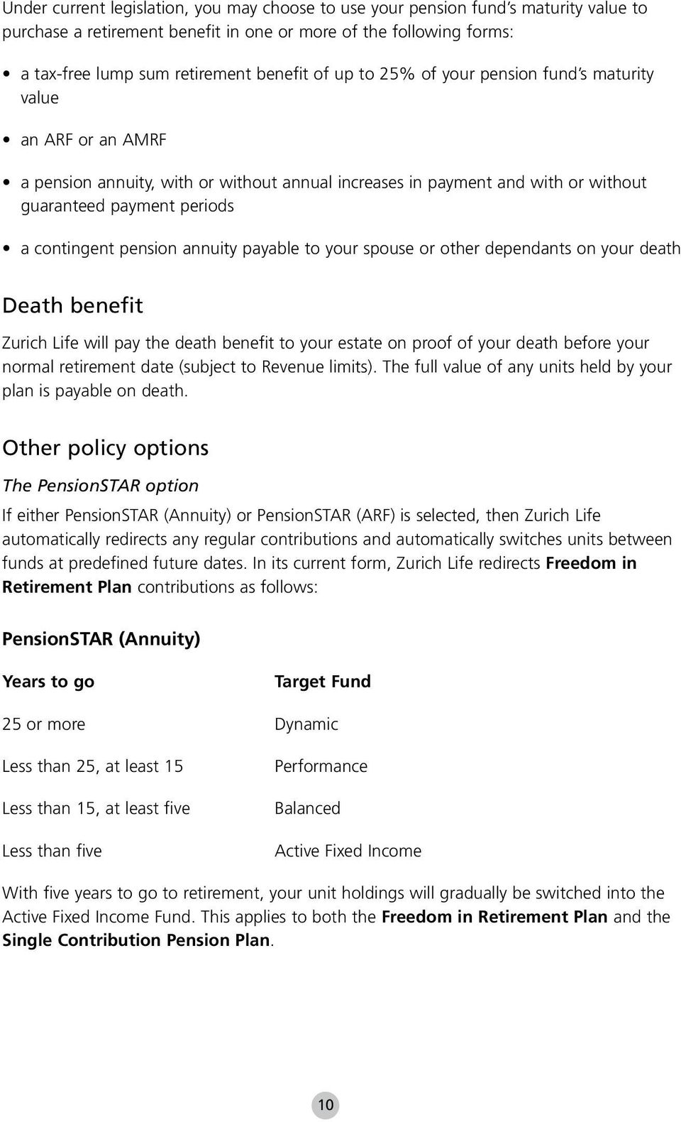 annuity payable to your spouse or other dependants on your death Death benefit Zurich Life will pay the death benefit to your estate on proof of your death before your normal retirement date (subject
