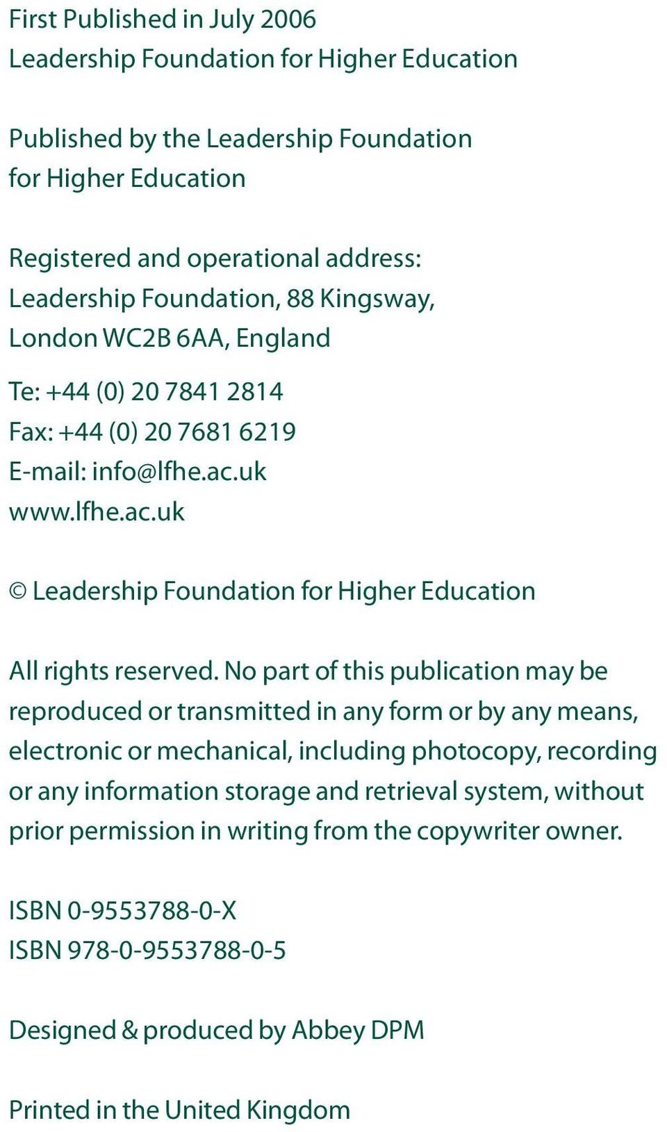 uk www.lfhe.ac.uk Leadership Foundation for Higher Education All rights reserved.