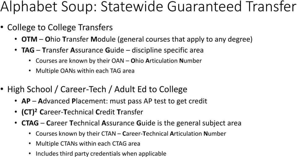 Adult Ed to College AP Advanced Placement: must pass AP test to get credit (CT) 2 Career-Technical Credit Transfer CTAG Career Technical Assurance Guide is the