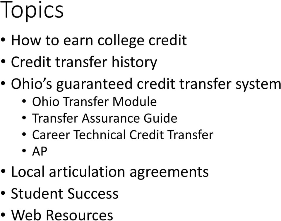 Module Transfer Assurance Guide Career Technical Credit