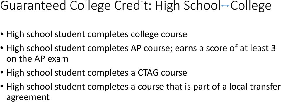 score of at least 3 on the AP exam High school student completes a CTAG