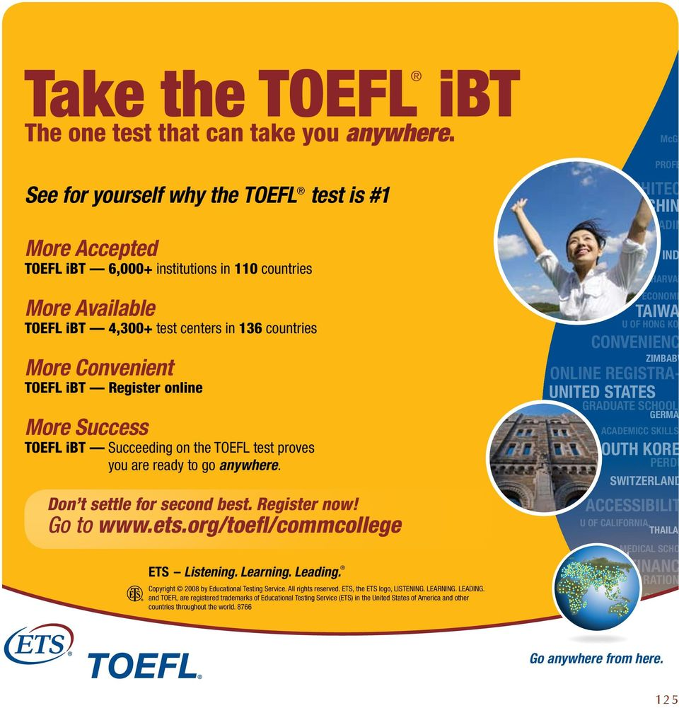online More Success TOEFL ibt Succeeding on the TOEFL test proves you are ready to go anywhere. Don t settle for second best. Register now! Go to www.ets.org/toefl/commcollege ETS Listening. Learning.