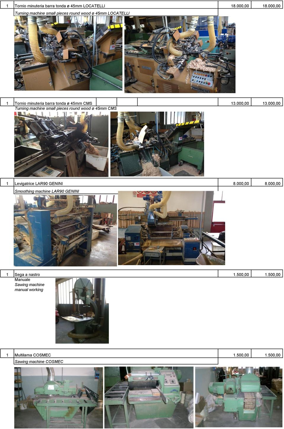 000,00 13.000,00 Turning machine small pieces round wood ø 45mm CMS 1 Levigatrice LAR90 GENINI 8.000,00 8.