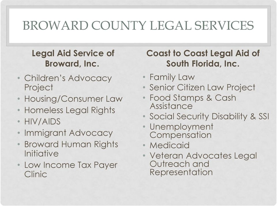 Rights Initiative Low Income Tax Payer Clinic Coast to Coast Legal Aid of South Florida, Inc.