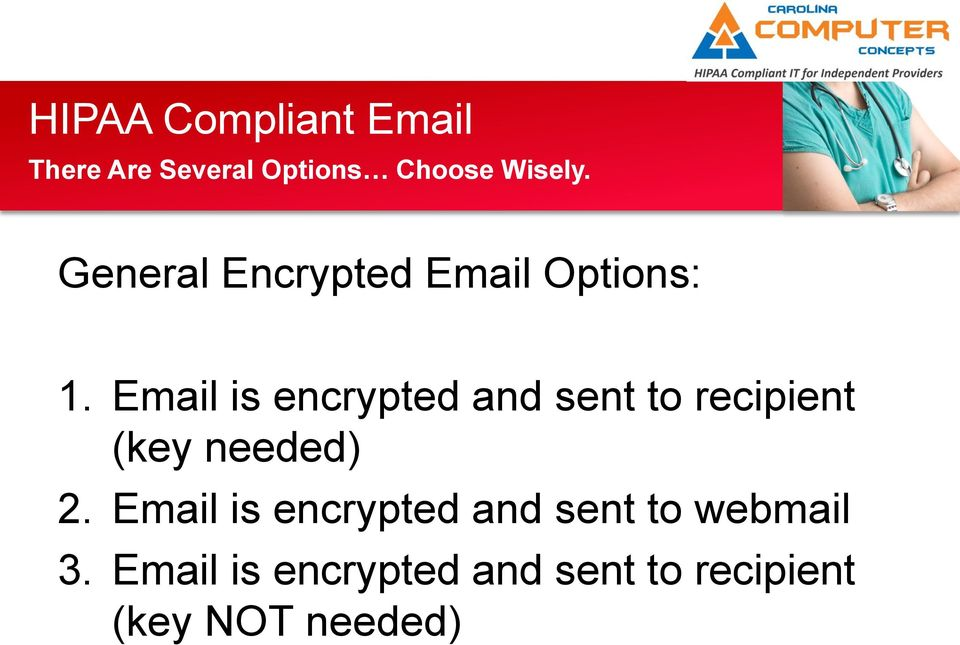 Email is encrypted and sent to recipient (key needed) 2.
