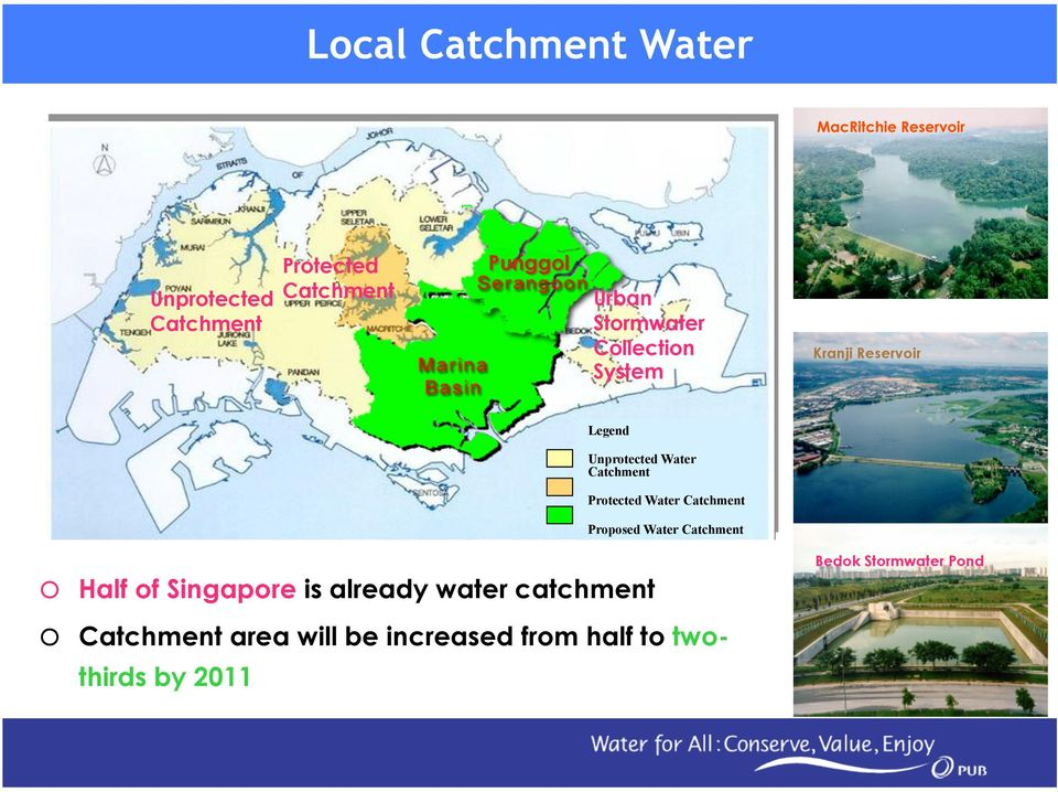 Protected Water Catchment Proposed Water Catchment o Half of Singapore is already