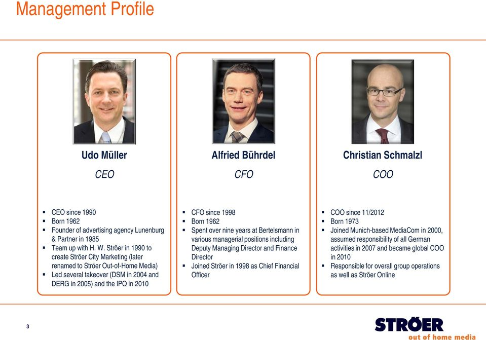 Spent over nine years at Bertelsmann in various managerial positions including Deputy Managing Director and Finance Director Joined Ströer in 1998 as Chief Financial Officer COO since