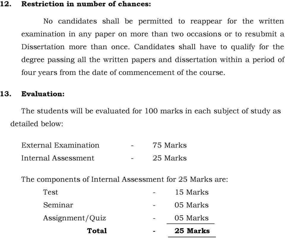 Candidates shall have to qualify for the degree passing all the written papers and dissertation within a period of four years from the date of commencement of the