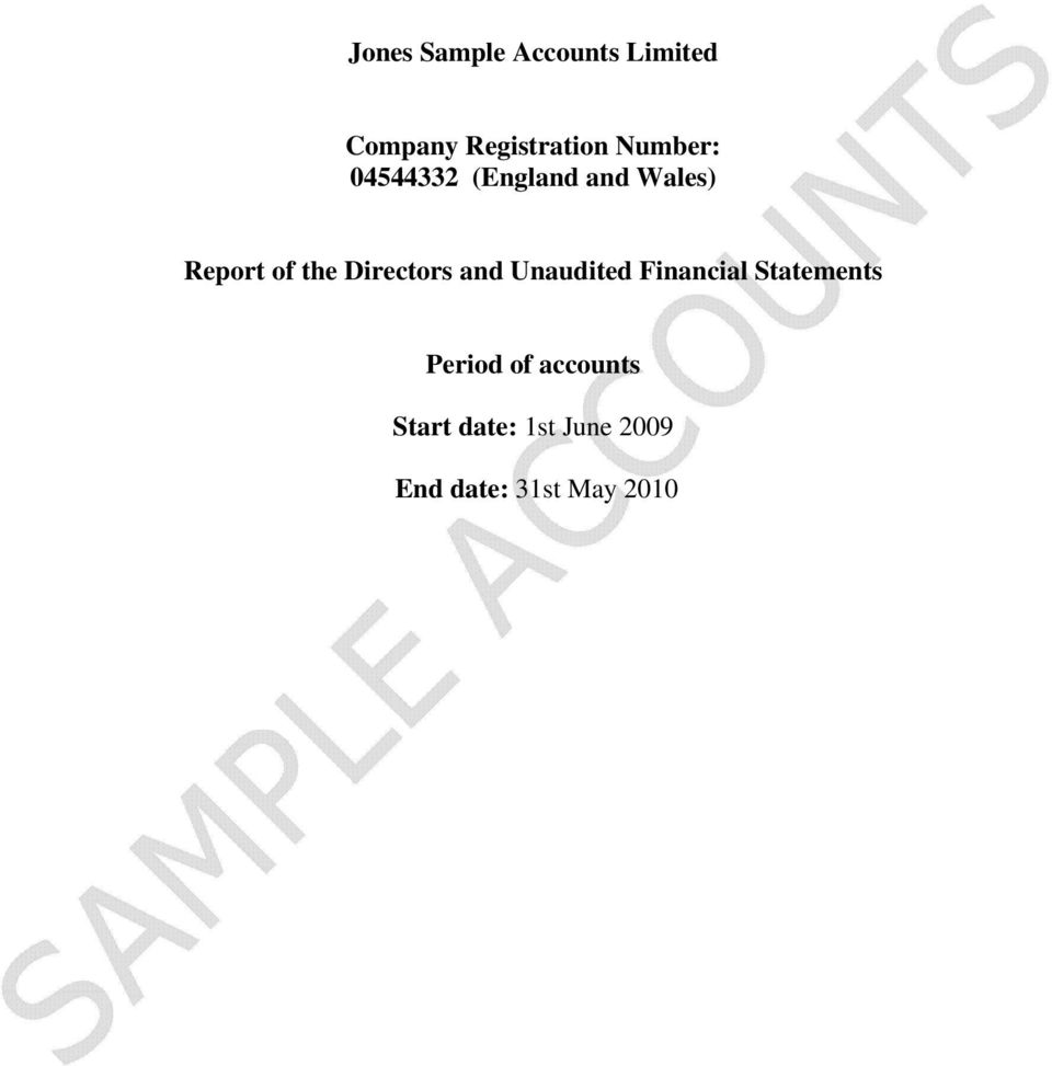 Unaudited Financial Statements Period of