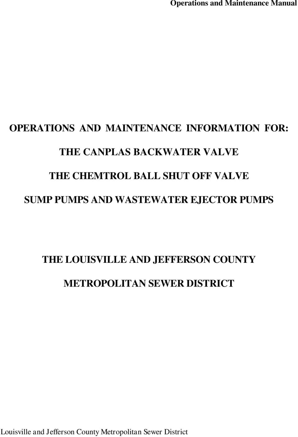 EJECTOR PUMPS THE LOUISVILLE AND JEFFERSON COUNTY METROPOLITAN
