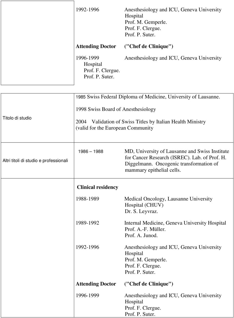 1998 Swiss Board of Anesthesiology Titolo di studio 2004 Validation of Swiss Titles by Italian Health Ministry (valid for the European Community Altri titoli di studio e professionali 1986 1988 MD,