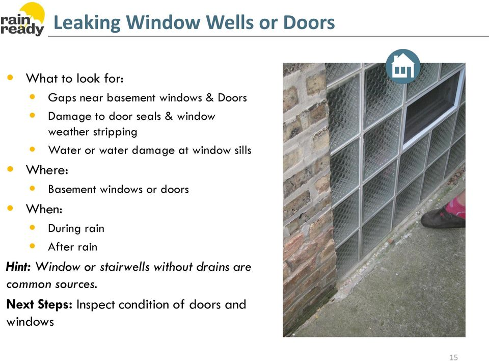Where: Basement windows or doors When: During rain After rain Hint: Window or