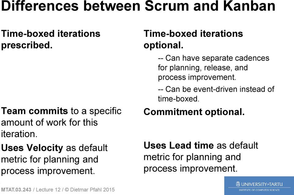 Uses Velocity as default metric for planning and process improvement. Time-boxed iterations optional.