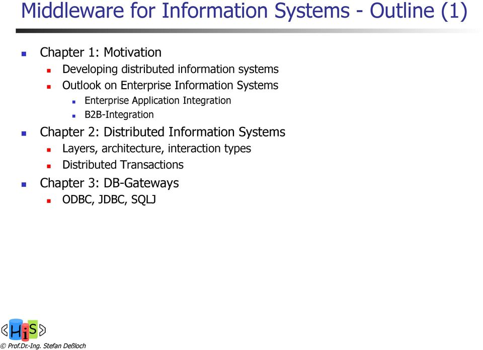 Application Integration B2B-Integration Chapter 2: Distributed Information Systems