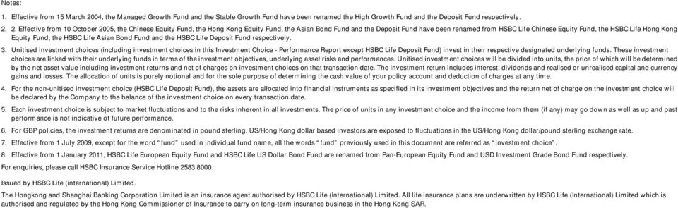 2. Effective from 10 October 2005, the Chinese Equity Fund, the Hong Kong Equity Fund, the Asian Bond Fund and the Deposit Fund have been renamed from HSBC Life Chinese Equity Fund, the HSBC Life
