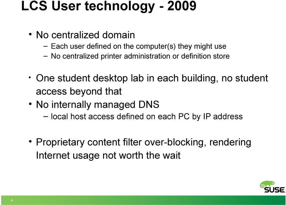 building, no student access beyond that No internally managed DNS local host access defined on