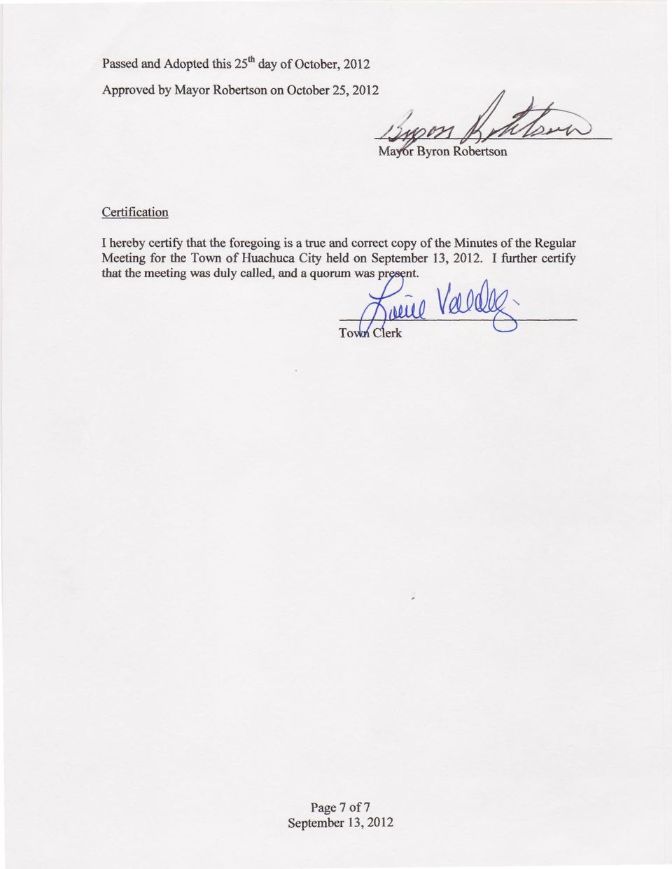 correct copy of the Minutes of the Regular Meeting for the Town of Huachuca City held
