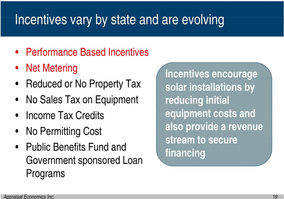 and Government sponsored Loan Programs Incentives encourage solar installations by reducing
