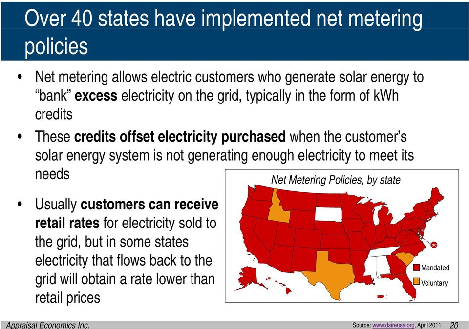 electricity to meet its needs Usually customers can receive retail rates for electricity sold to the grid, but in some states electricity that flows back to