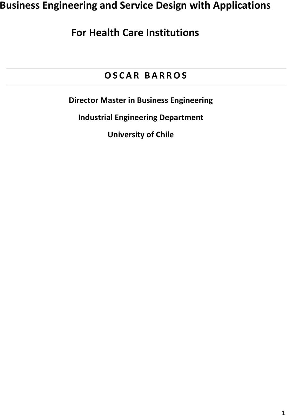BARROS Director Master in Business Engineering