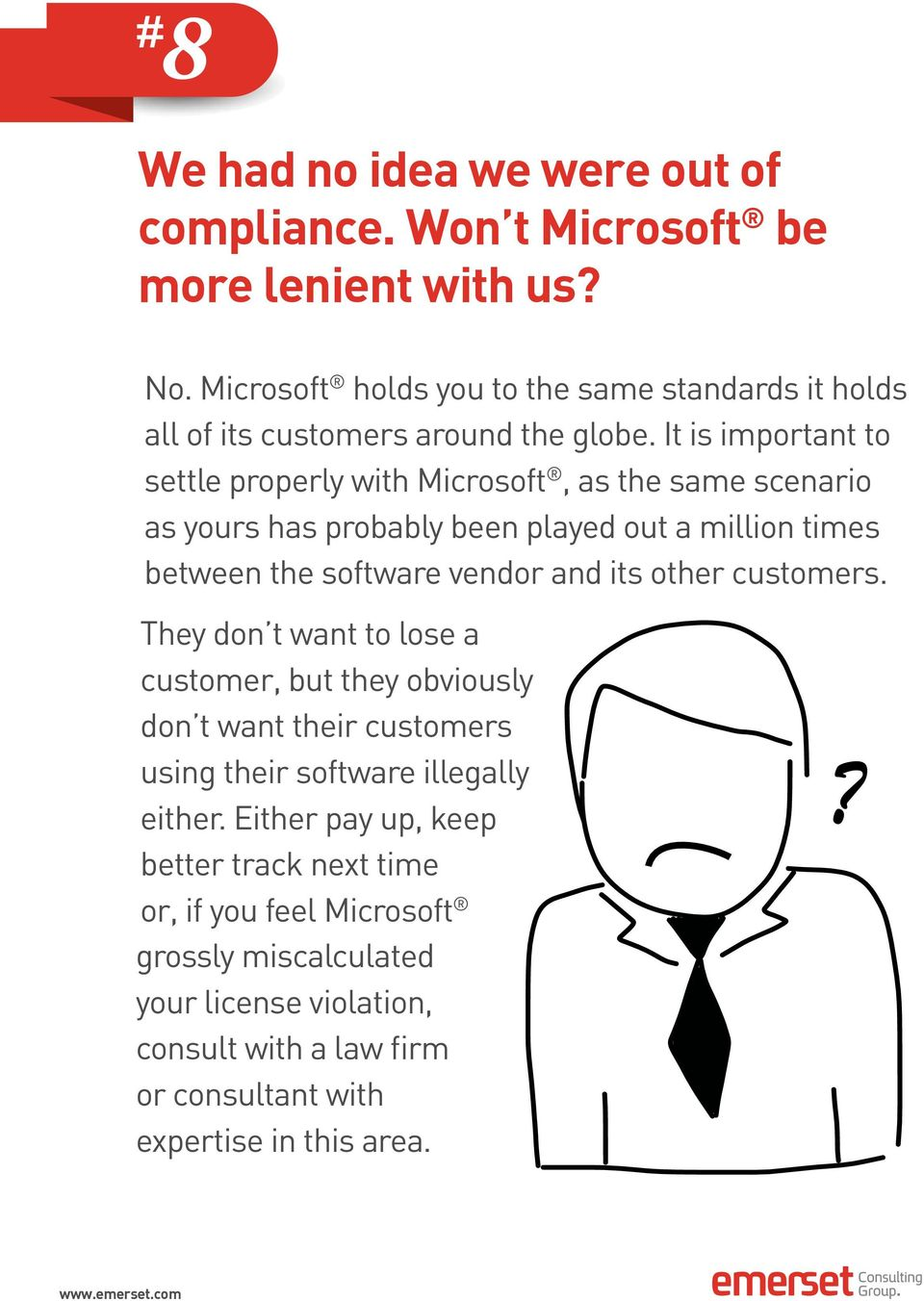 It is important to settle properly with Microsoft, as the same scenario as yours has probably been played out a million times between the software vendor and its