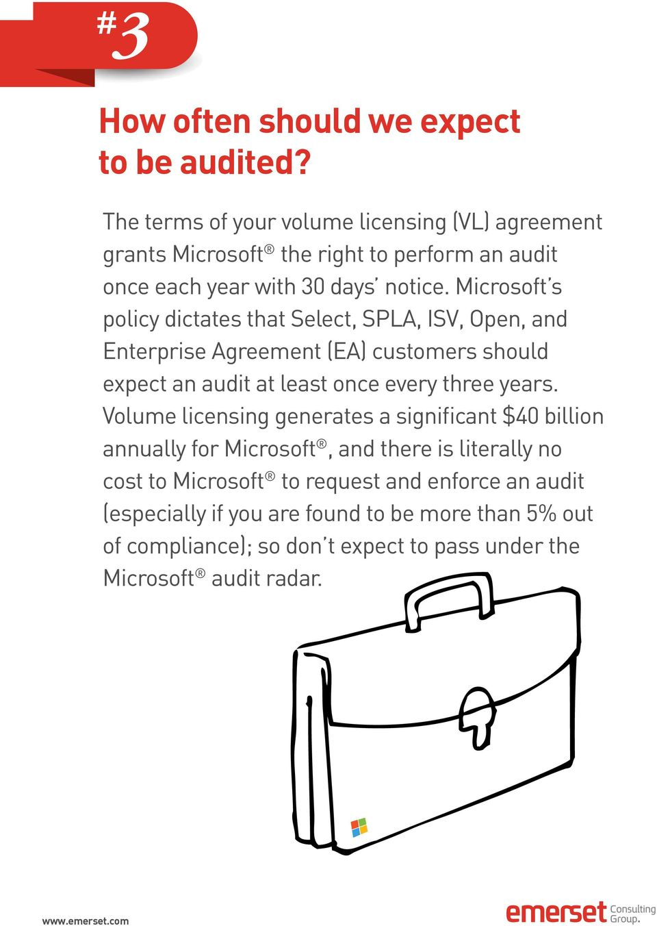 Microsoft s policy dictates that Select, SPLA, ISV, Open, and Enterprise Agreement (EA) customers should expect an audit at least once every three