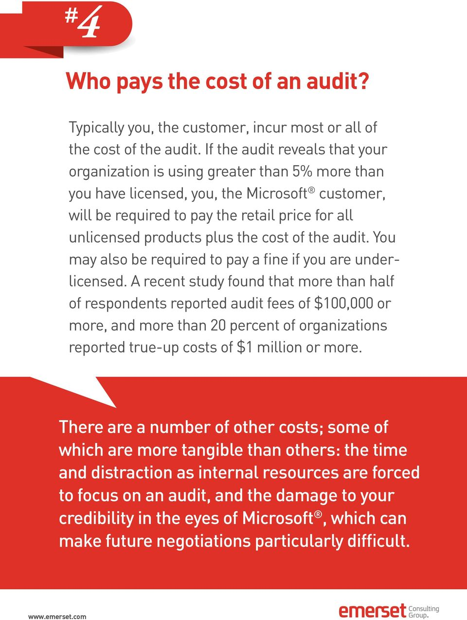 plus the cost of the audit. You may also be required to pay a fine if you are underlicensed.