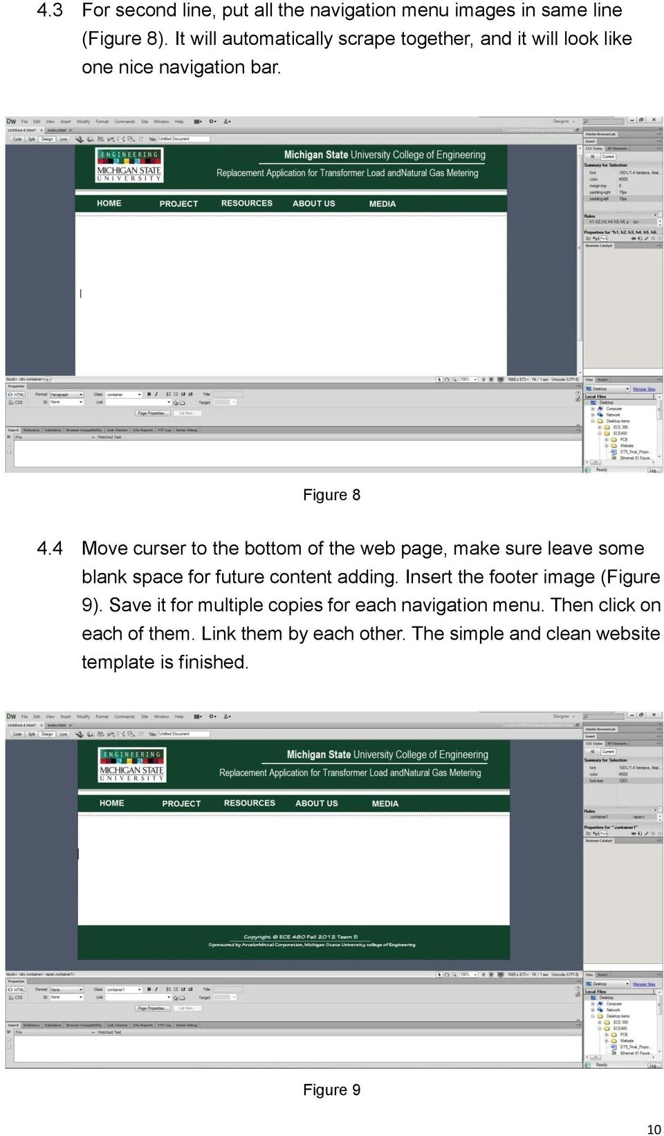 4 Move curser to the bottom of the web page, make sure leave some blank space for future content adding.