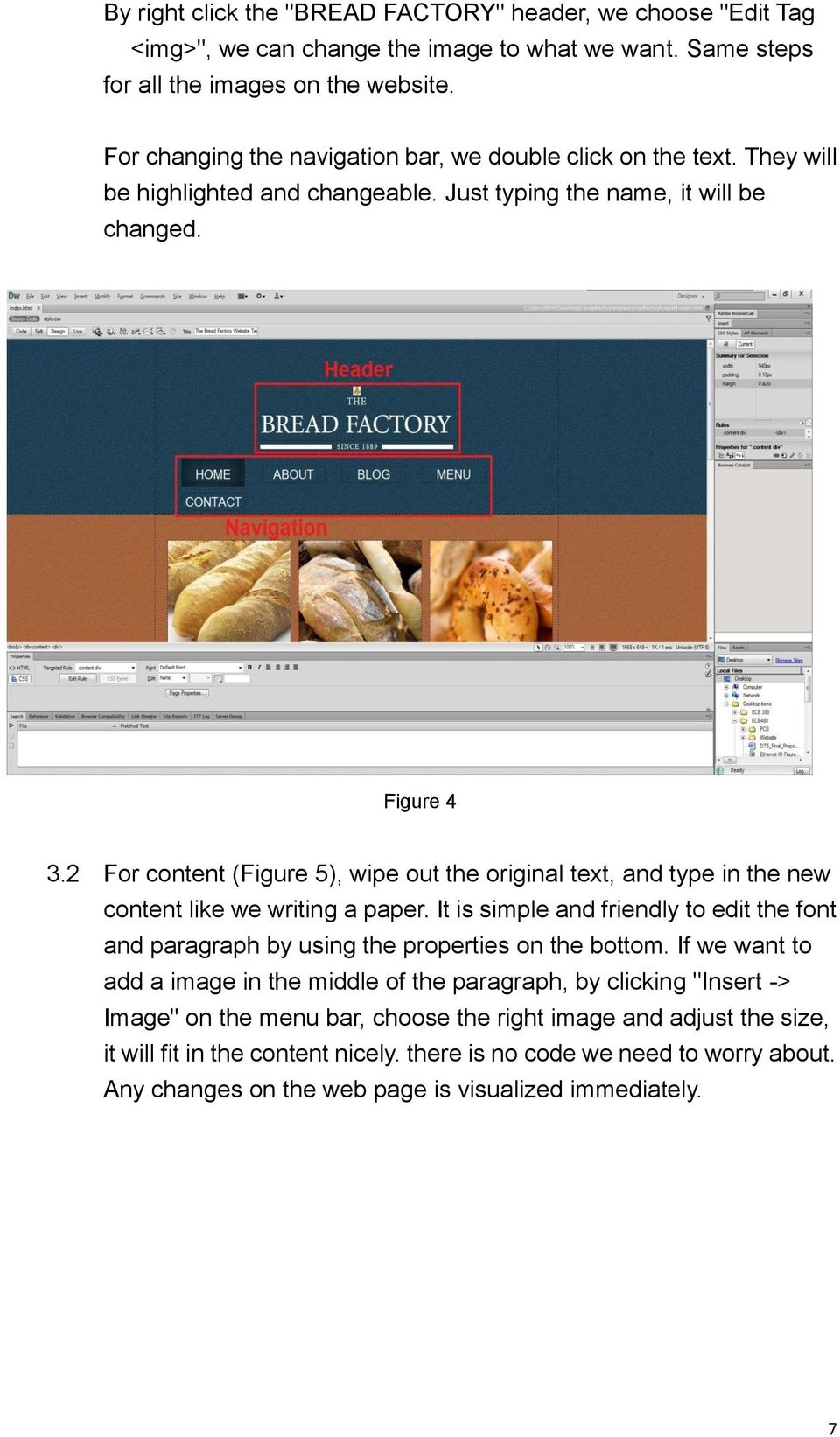 2 For content (Figure 5), wipe out the original text, and type in the new content like we writing a paper.