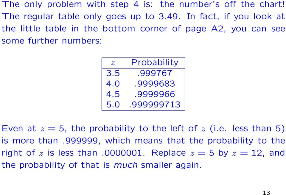 999767 4.0.9999683 4.5.9999966 5.0.999999713 Even at z = 5, the probability to the left of z (i.e. less than 5) is more than.